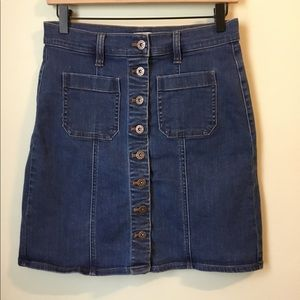 J. Crew Button-front Jean Skirt, size 2